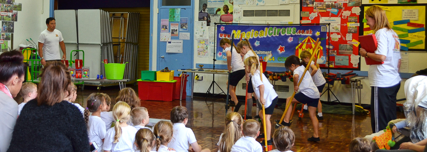 Children showing their circus skills.